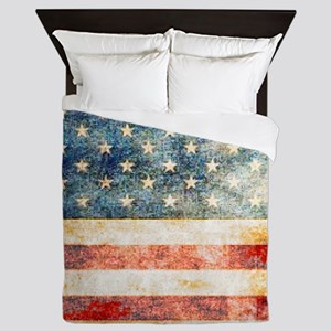 Stars over Stripes Vintage Queen Duvet
