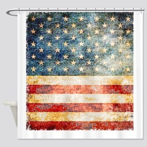Stars over Stripes Vintage Shower Curtain