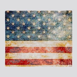 Stars over Stripes Vintage Throw Blanket