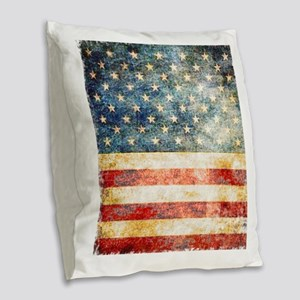 Stars over Stripes Vintage Burlap Throw Pillow