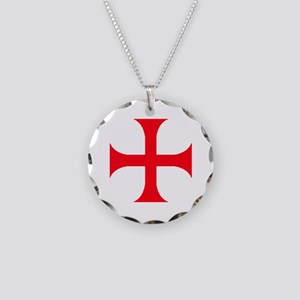 Templar Red Cross Necklace Circle Charm