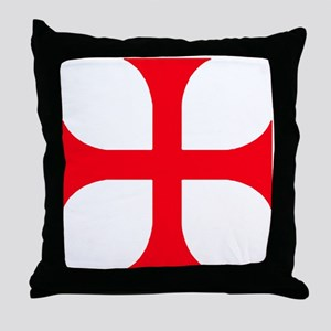 Templar Red Cross Throw Pillow