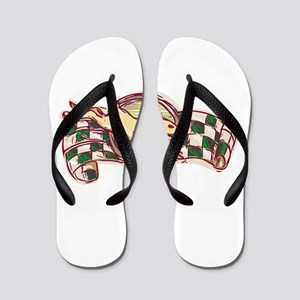 Rabbit Jumping Racing Flag Drawing Flip Flops