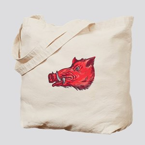 Wild Boar Razorback Head Side Drawing Tote Bag