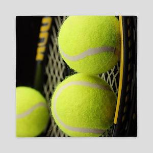 Tennis Balls And Racquet Queen Duvet