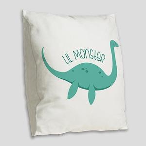 Lil Monster Burlap Throw Pillow