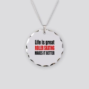 Life is great Roller Skating Necklace Circle Charm