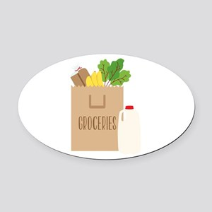 Groceries Oval Car Magnet
