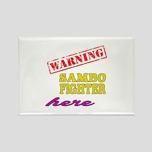 Warning Sambo Fighter Here Rectangle Magnet
