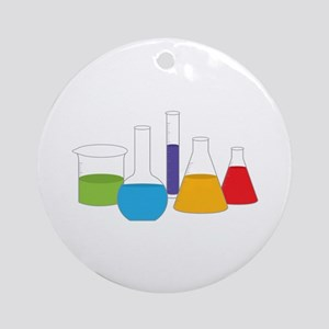 Science Beakers Round Ornament