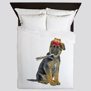 German Shepherd Puppy Birthday Queen Duvet