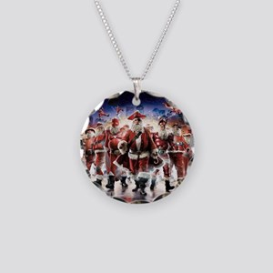 Multiple Personalities Santa Necklace Circle Charm