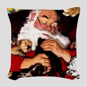 Santa Sleeping Woven Throw Pillow