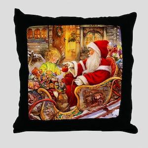 Santa Visiting Little Girl Throw Pillow
