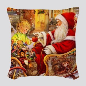 Santa Visiting Little Girl Woven Throw Pillow