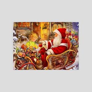 Santa Visiting Little Girl 5'x7'Area Rug