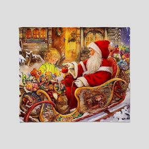 Santa Visiting Little Girl Throw Blanket