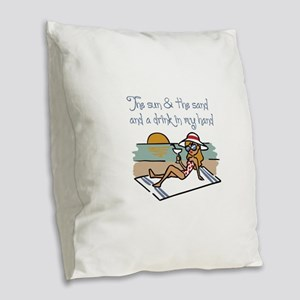 Drink In My Hand Burlap Throw Pillow