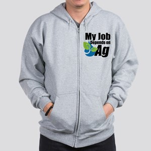 My Job Depends On Ag Logo Zip Hoodie