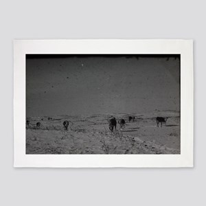 old snowdrift scene with cows roami 5'x7'Area Rug