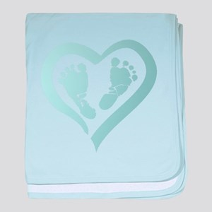Baby Prints in Heart by LH baby blanket