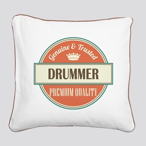 drummer vintage logo Square Canvas Pillow