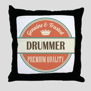 drummer vintage logo Throw Pillow
