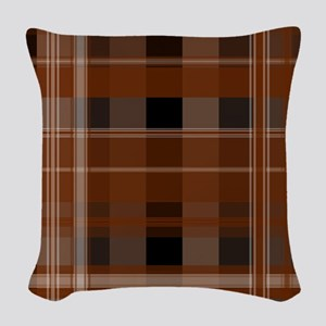 Brown and Black Plaid Woven Throw Pillow