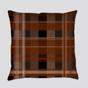 Brown and Black Plaid Everyday Pillow