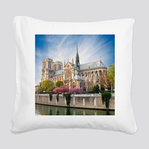 Notre Dame Cathedral Square Canvas Pillow