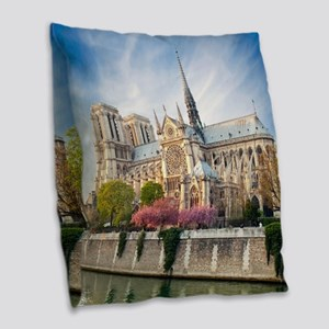 Notre Dame Cathedral Burlap Throw Pillow