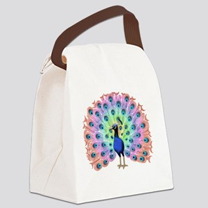 Colorful Peacock Canvas Lunch Bag