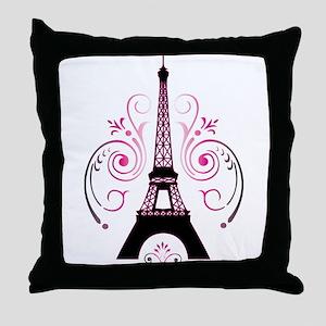 Eiffel Tower Gradient Swirl Design Throw Pillow