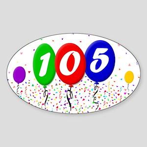 105th Birthday Oval Sticker