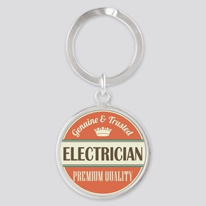 electrician vintage logo Round Keychain