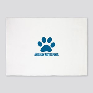 American Water Spaniel Dog Designs 5'x7'Area Rug