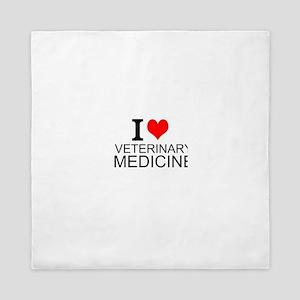 I Love Veterinary Medicine Queen Duvet