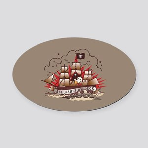Peanuts All Hands on Deck Oval Car Magnet