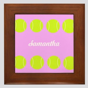 Pink Tennis Ball Framed Tile