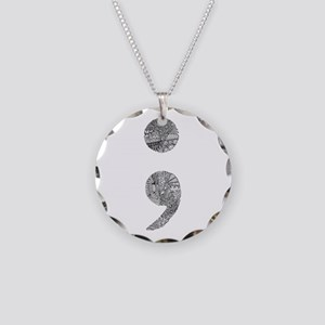 Patterned Semicolon #2 Necklace Circle Charm