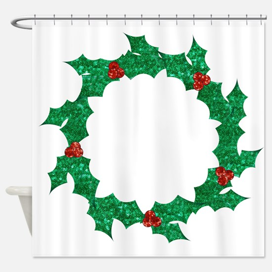 christmas sequin holly wreath Shower Curtain