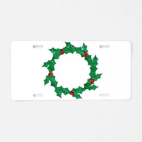 christmas sequin holly wrea Aluminum License Plate