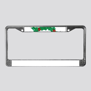 christmas sequin holly wreath License Plate Frame