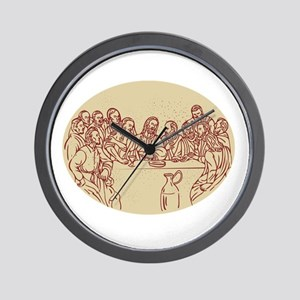 Last Supper Jesus Apostles Drawing Wall Clock