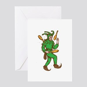 Medieval Jester Juggling Wooden Pins Drawing Greet