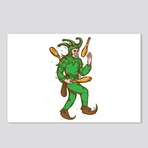 Medieval Jester Juggling Wooden Pins Drawing Postc