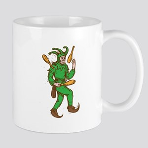 Medieval Jester Juggling Wooden Pins Drawing Mugs