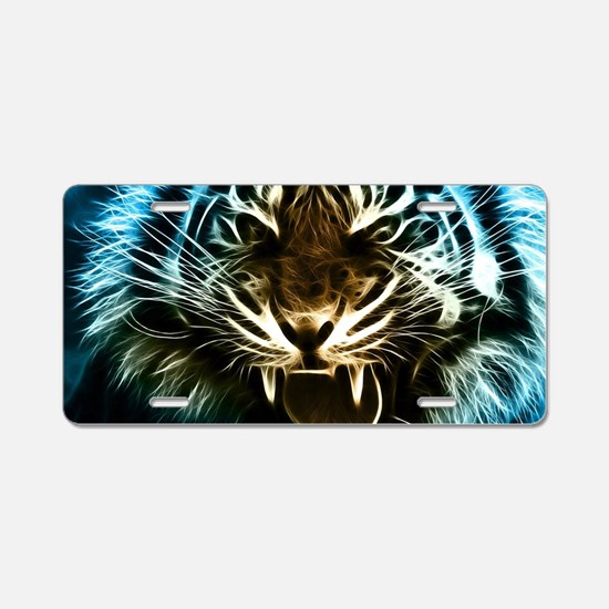 Fractal Tiger Art Aluminum License Plate