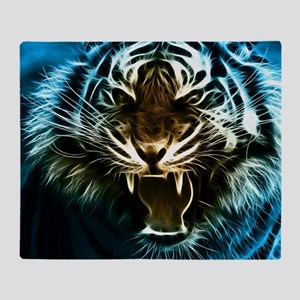 Fractal Tiger Art Throw Blanket