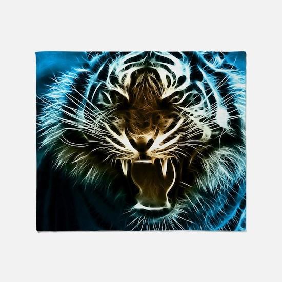 Fractal Tiger Art Throw Blanket